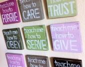 """Christian Art - SET of ANY 3 - """"Teach Me"""" Wood Blocks - Inspirational Art - Easter - Nursery Art, Girl's Room, Wall Art, Gift"""