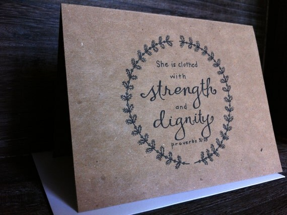Reserved for Larry- She is Clothed With Strength and Dignity - Paper Goods - Bible Verse - Blank Notecard - Mother's Day - Graduation