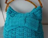 Crochet Bag Aqua Turquoise Marine Nautical Shoulder Bag Handbag, Gift for Mom Her