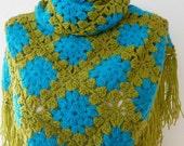 Green Blue Shawl  scarf - Neckwarmer  Cowl Granny Squares