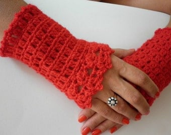 Red  Wrist Warmers  with Lace Edge Trim  Cuff  Fingerless Gloves  in Wool,Gift,Teacher,Graduation,Her