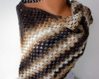 Earth Tones Angora Knit Crochet Scarf Wedding Shawl,bridal Shawl, Gift Ideas For Her Women Fashion Accessories the front page on ETSY