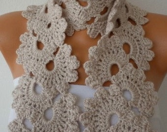 Beige Queen Anne's Lace Scarf  Crochet Scarf  Cowl Scarf Gift Ideas for Her Mom Teacher  Bridesmaid Gift Women Fashion Accessories  fatwoman