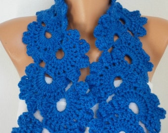 Royal Blue Queen Anne's Lace Scarf, Fall Winter Scarf,Valentine,Cowl Scarf Gift for Her Women's Fashion Accessories