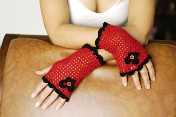 Red Fingerless  Gloves, With Black Lace Edge,  for gift  Red and Black Christmas