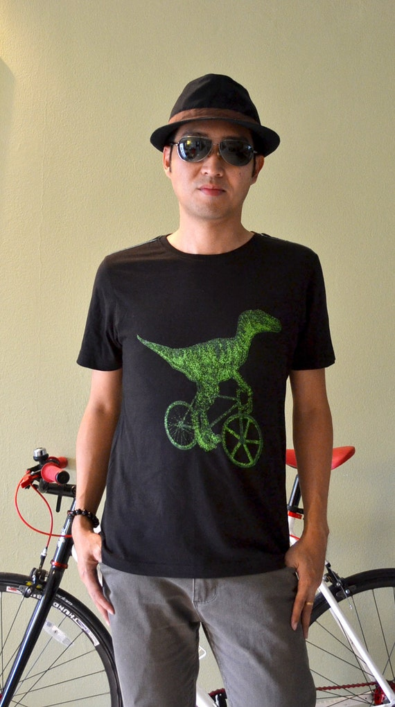 Raptor Dinosaur Green on Fixie Fixed Gear bicycle art black t shirt L size