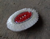 PIF white and red bead brooch for free