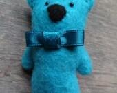 Freshly blue felt bear brooch