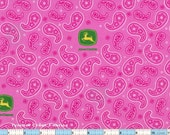 "John Deere Pink Paisley 23"" Pre-washed  100% Cotton"