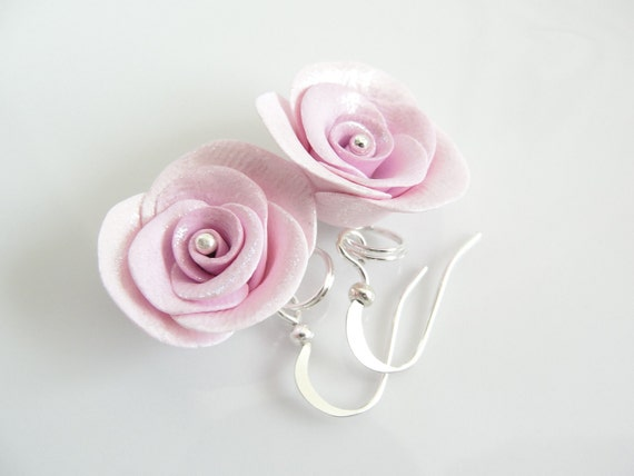 Pale pink earrings handmade roses from polymer clay