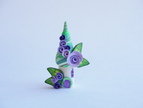 Fairy house miniature in lilac, purple and lime green handmade from polymer clay