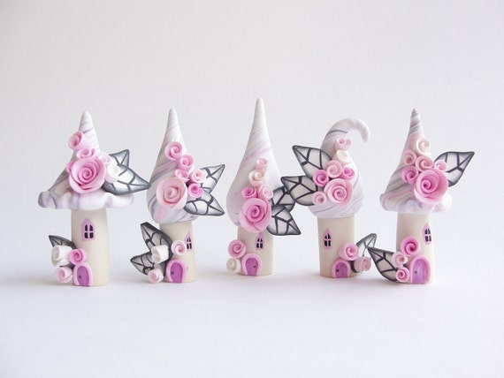 Fairy house village in miniature in pale pink and grey colours handmade from polymer clay