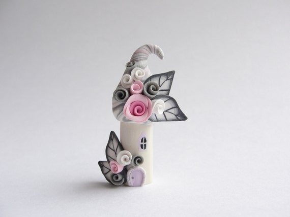 Pale pink and grey polymer clay fairy house home miniature