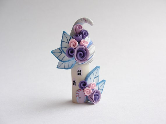Little house in blue, pink and purple polymer clay fairy house home miniature