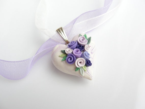Heart pendant in lilac and cream polymer clay with purple roses on organza ribbon necklace