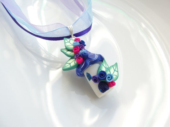 Fairy house organza ribbon childrens necklace in blue, pink and purple colours handmade from polymer clay