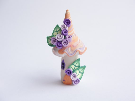 Polymer clay fairy house home miniature in orange, purple and lilac