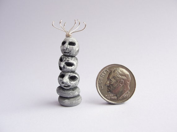 Stone head coat stand for quarter scale witch dollhouse handmade from polymer clay