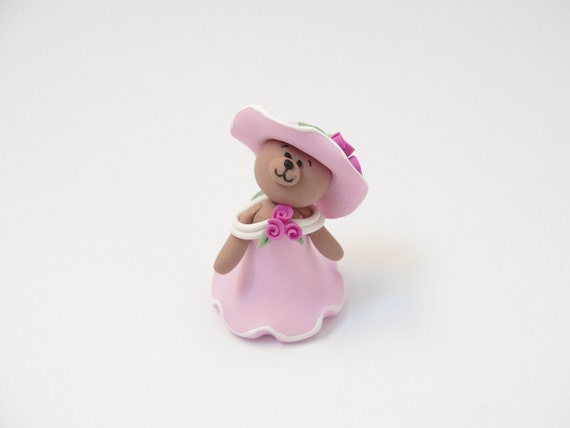 Cute dressed teddy bear doll in pink dress and hat with roses for 1/4 scale dollhouse handmade from polymer clay
