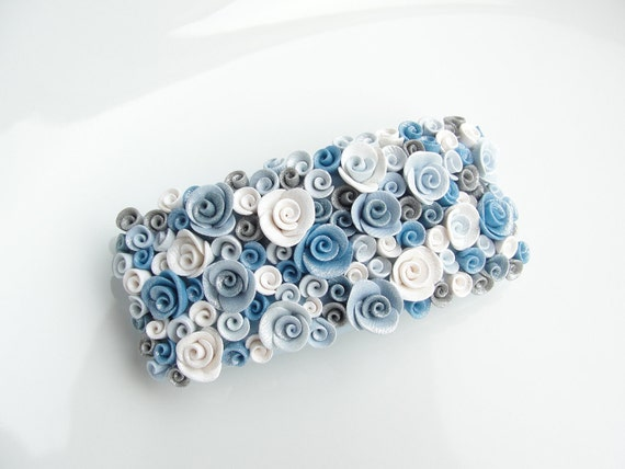 Twinkling pale blue and white rose barrette hair clip handmade from polymer clay