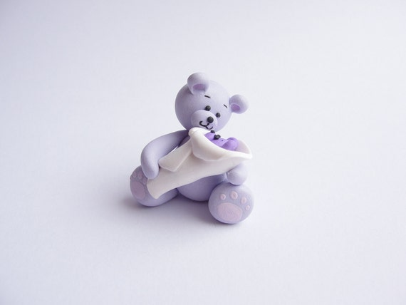 Lilac teddy bear Mummy and newborn baby bear for 1/12 scale dollshouse handmade from polymer clay