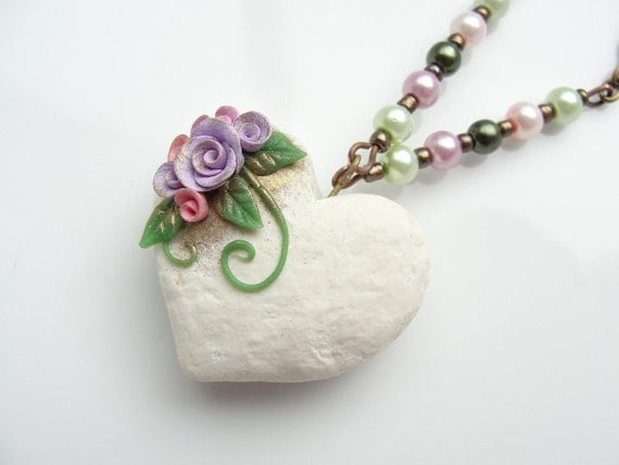 Shabby chic wedding heart beaded necklace with vintage style rose design handmade from polymer clay