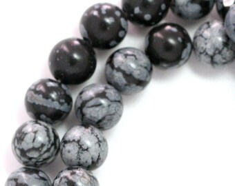 Snowflake Obsidian Beads - 8mm Round - Half Strand