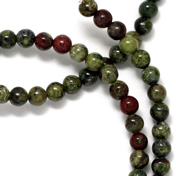 Dragon Blood Jasper Beads - 4mm Round - Full Strand