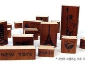 Wooden Rubber Stamp Box Set 1 Sets / 15kinds of   Korea Vintage American World Stamp  Gift Box-Manufacturing memories tourism wind