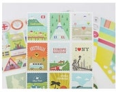 12 Sheets Korea stationery British style stamps transparent and paper adornment Sticker Set