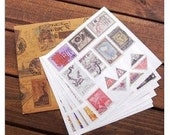 12 Sheets Korea Vintage Paper Deco Sticker Stamp-European Restore Ancient Ways The World Stamps