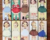 30 Sheets Pretty Doll Paper Bobbin Card Bookmarks Sets