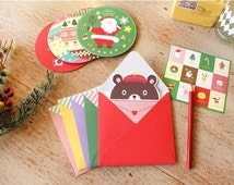 10 Sheets Korea Boxed Happy Christmas Cards Blessing Card- Envelope -Sticker Sets