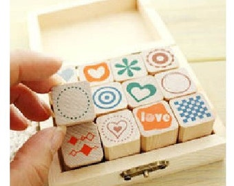 12 kinds Korea DIY Woodiness Rubber Stamps-Lovely background