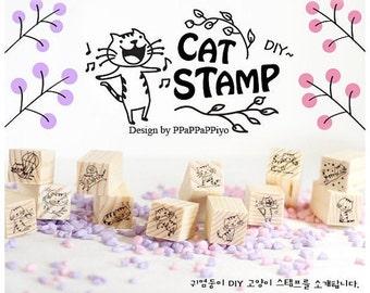 12 Kinds Korea DIY Wood Rubber Stamp-Cat Stamp