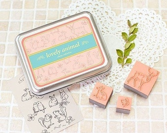 12 Kinds Korea DIY Woodiness rubber stamp-lovely animal