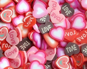 100 pcs  Mix of (BIG ) Polymer Clay Cane   -Love  heart Slices Decoration and Nail Art