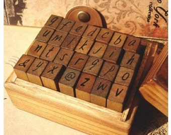 2 Sets /56 kinds Korea DIY vintage Capital letters /lowercase letters wooden box pack Seal to restore ancient ways diary stamp set
