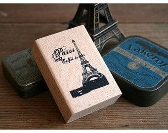Korea DIY Woodiness vintage stamp - Eiffel Tower