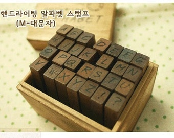1 Sets /28kinds Korea DIY vintage  wooden box pack Seal to restore ancient ways diary stamp set-Capital letters