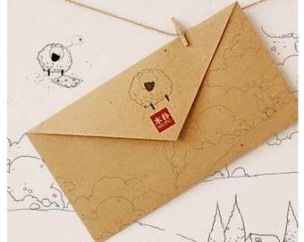 10 Sheets  MUPU Antique Kraft Paper The Ancient Envelopes Sets-Sheep with