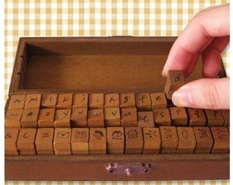 Antique retro vintage Korea DIY Woodiness  Lowercase letters /expression  /stamp set/ Rubber Stamps