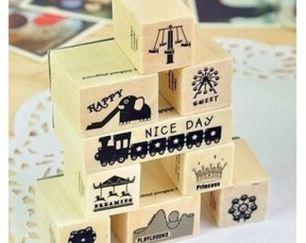 1Sets / Korea DIY diary 9 Kinds wooden rubber stamps seal and 18 Sheets stickers set---Ferris wheel