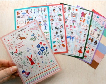 6 Sheets Korea Pretty Sticker Set - Deco Translucent Sticker Set-For You Beautiful Dream