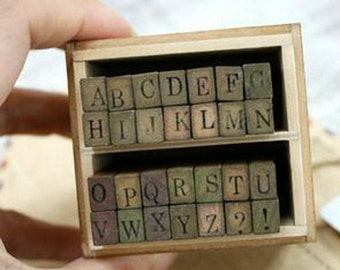 Wooden Rubber Stamp Box Alphabet Stamps Print Style Korea DIY vintage Stamps  - Capital Letters 28 Pcs