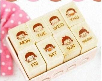 8 kinds of  Korea DIY Woodiness week  mood stamp / rubber stamp set