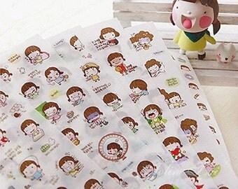 6 Sheets Korea momoi cute little girl stickers Set