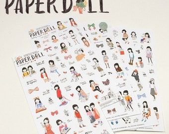 6 Sheets Korea Paper Doll Deco Sticker Stamp