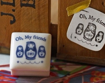 Korea DIY Ceramics Zakka Rubber Stamp Set-Matryoshka doll