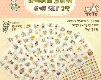 6 Sheets Korea Pretty Sticker Set - ToTo Lovely Diary Deco Sticker Set